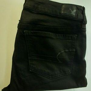 American Eagle jeans black begging size 8 skinny